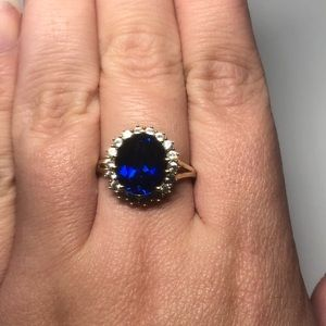 Lab created blue and white sapphire ring